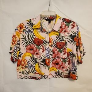 Forever 21 Pink Hawaiian Boxy Cropped Shirt